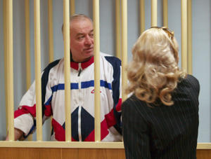 Pictured in this file image dated August 9, 2006, is retired colonel Sergei Skripal during a hearing at the Moscow District Court