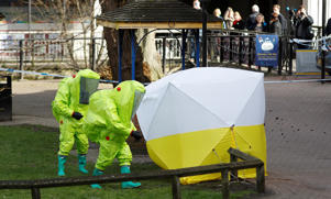 The forensic tent, covering the bench where Sergei Skripal and his daughter Yulia were found