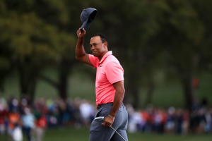 PALM HARBOR, FL - MARCH 10:  Tiger Woods reacts after finishing his third round of the Valspar Championship at Innisbrook Resort Copperhead Course on March 10, 2018 in Palm Harbor, Florida.  (Photo by Sam Greenwood/Getty Images)