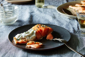 a plate of food on a table: Sally Schneider's Slow-Roasted Salmon (or Other Fish)