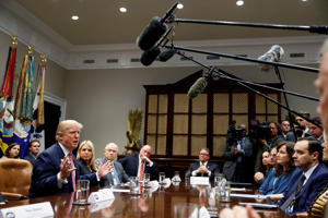 President Donald Trump speaks during a meeting with state and local officials to discuss school safety, in the Roosevelt Room of the White House, Thursday, Feb. 22, 2018, in Washington.