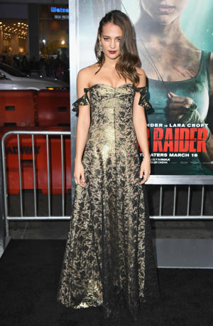 Alicia Vikander attends the Los Angeles Premiere 'Tomb Raider' at TCL Chinese Theatre IMAX on March 12, 2018 in Hollywood, California.