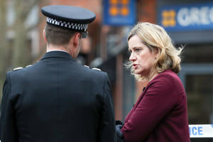 Home Secretary Amber Rudd talks to Wiltshire Police Chief Constable Kier Pritchard during a visit to the scene at the Maltings shopping centre in Salisbury