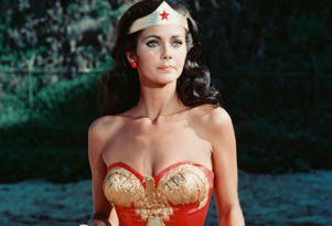 Lynda Carter, US actress, in costume in a publicity still issue for the US television series, 'Wonder Woman', circa 1977.