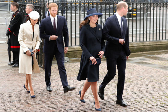 Slide 1 of 9: Britain's Catherine, Duchess of Cambridge, (2R) and her husband Britain's Prince William, Duke of Cambridge (R), arrive with Britain's Prince Harry (C) and his fiancée US actress Meghan Markle to attend a Commonwealth Day Service at Westminster Abbey in central London, on March 12, 2018. Britain's Queen Elizabeth II has been the Head of the Commonwealth throughout her reign. Organised by the Royal Commonwealth Society, the Service is the largest annual inter-faith gathering in the United Kingdom. / AFP PHOTO / Daniel LEAL-OLIVAS        (Photo credit should read DANIEL LEAL-OLIVAS/AFP/Getty Images)
