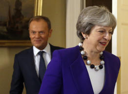 Prime Minister Theresa May during a meeting with European Council president Donald Tusk at Downing Street, London.