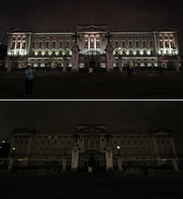 A comp of photos of Buckingham Palace in London before and after it switches off its lights for an hour to mark WWF's Earth Hour to raise awareness about climate change.