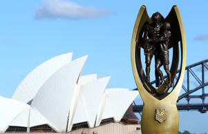 A NRL Premiership trophy replica is on display during the 2010 NRL Club Captains media call on Sydney Harbour on March 3, 2010 in Sydney, Australia. (Photo by Mark Nolan/Getty Images)
