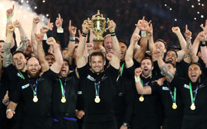 Richie McCaw of New Zealand lifts the Webb Ellis Cup following victory in the 2015 Rugby World Cup Final match between New Zealand and Australia at Twickenham Stadium on October 31, 2015 in London, United Kingdom