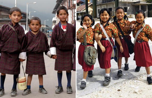 Slide 1 of 41: Children in school uniforms from Bhutan (L) and Indonesia.