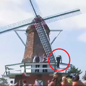 Wedding guest knocked over by a windmill