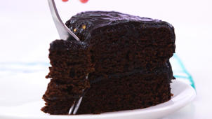 a piece of chocolate cake on a plate: How to Make Dark Chocolate Avocado Cake