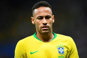 Brazil's forward Neymar looks on during the Russia 2018 World Cup quarter-final football match between Brazil and Belgium at the Kazan Arena in Kazan