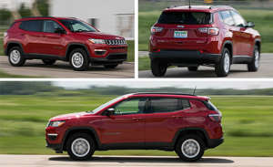 a fire truck parked in front of a car: Normcore, Tested: 2018 Jeep Compass 4x4 Automatic