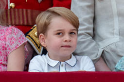 LONDON, ENGLAND - JUNE 09:   Prince George of Cambridge during Trooping The Colour 2018 on June 9, 2018 in London, England. (Photo by Mark Cuthbert/UK Press via Getty Images)