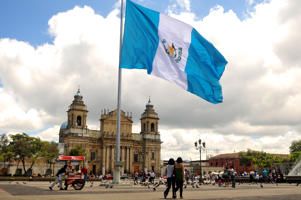The Guatemalan national flag flutters at Constitution Square in Guatemala City.