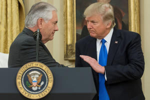 US President Donald J. Trump (R) shakes hands with Rex Tillerson (L)