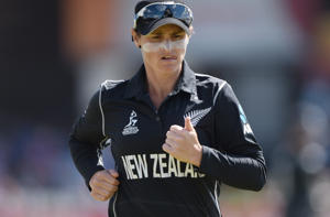 Katey Martin of New Zealand looks on during the ICC Women's World Cup 2017 between England and New Zealand in Derby, England.