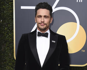 "In this Jan. 7, 2018 file photo, James Franco arrives at the 75th annual Golden Globe Awards in Beverly Hills, Calif. Facing accusations by an actress and a filmmaker over alleged sexual misconduct, James Franco said on CBS' ""The Late Show with Stephen Colbert"" on Tuesday the things he's heard aren't accurate but he supports people coming out ""because they didn't have a voice for so long."""