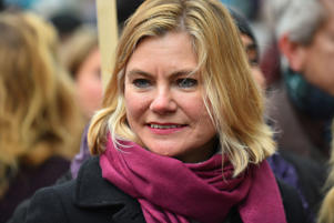 Conservative MP Justine Greening is pictured during the March4Women event, London on March 4, 2018. Demonstrators march through central London today with calls for an end to gender-based discrimination in the workplace. The event celebrates the upcoming International Women's Day, on March 8th, and marks 100 years since the first women in the UK gained the right to vote. (Photo by Alberto Pezzali/NurPhoto via Getty Images)