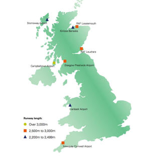 Potential sites for Britain's spaceport (click image to enlarge)