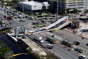 View of  the main span of the FIU-Sweetwater UniversityCity Bridge after collapsing five days after been installed over SW 8 Street-State Road 41 on Thursday, March 15, 2018.