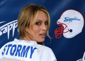 FILE: Adult film actress/director Stormy Daniels hosts a Super Bowl party at Sapphire Las Vegas Gentlemen's Club on February 4, 2018 in Las Vegas, Nevada.