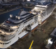 Cruise ship sliced in half for luxurious expansion