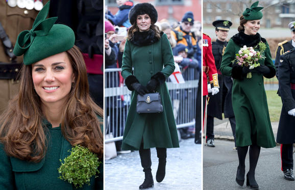 36 枚のスライドの 1 枚目: ALDERSHOT, ENGLAND - MARCH 17: Catherine, Duchess of Cambridge attends the St Patrick's Day parade at Mons Barracks on March 17, 2014 in Aldershot, England. (Photo by Pool/Karwai Tang/WireImage); CAPTION: STOCKHOLM, SWEDEN - JANUARY 30: (NO UK SALES FOR 28 DAYS) Catherine, Duchess of Cambridge walks through the cobbled streets of Stockholm from the Royal Palace to the Nobel Museum during day one of their Royal visit to Sweden and Norway on January 30, 2018 in Stockholm, Sweden. (Photo by Pool/Samir Hussein/WireImage); CAPTION: HOUNSLOW, ENGLAND - MARCH 17: Catherine, Duchess of Cambridge attends the annual Irish Guards St Patrick's Day Parade at Cavalry Barracks on March 17, 2018 in Hounslow, England. (Photo by UK Press Pool/UK Press via Getty Images)