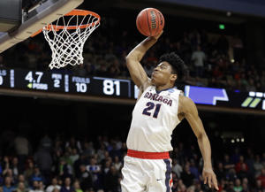 Gonzaga forward Rui Hachimura dunks against Ohio State during the second half of a second-round game in the NCAA men's college basketball tournament Saturday, March 17, 2018, in Boise, Idaho.