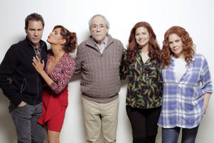 "WILL & GRACE -- ""One Job"" Episode 111 -- Pictured: (l-r) Eric McCormack as Will Truman, Sara Rue as Joyce, Robert Klien as Martin Adler, Debra Messing as Grace Adler, Mary McCormack as Janet"