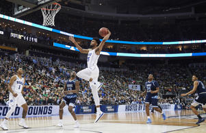 PITTSBURGH, PA - MARCH 17:  Duke Blue Devils forward Marvin Bagley III (35) goes in for an uncontested lay up during the second half of the second round of the NCAA Division I Men's Championships between the Duke Blue Devils and the Rhode Island Rams at PPG Paints Arena in Pittsburgh, PA on March 17, 2018.