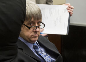 David Turpin appears in court in Riverside, Calif., Friday, Feb. 23, 2018. Louise and David Turpin have pleaded not guilty to torture and other charges and each is held on $12 million bail. The couple was arrested last month after their 17-year-old daughter escaped from the family's home in Perris, Calif., and called 911. (AP Photo/Damian Dovarganes, Pool)