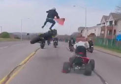 Wild video shows motorcyclist sent flying after failed wheelie
