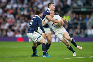 A high tackle on England's Mike Brown