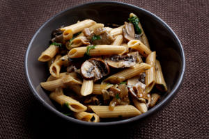 WASHINGTON, DC- JANUARY 28, 2015: Whole-Grain Penne With Mushrooms and Herbs    (Photo by Deb Lindsey for the Washington Post).
