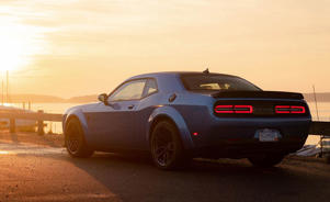 a car parked on the side of a road: Redeye, Set, Go! 797-HP Dodge Challenger SRT Hellcat Redeye Driven