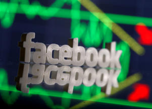 A 3D-printed Facebook logo  REUTERS/Dado Ruvic/File Photo