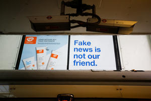 A Facebook billboard advert can be seen at Earls Court  . REUTERS/Henry Nicholls