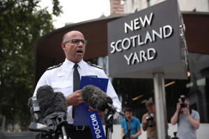 LONDON, ENGLAND - JULY 09:  Assistant Commissioner of Specialist Operations Neil Basu at New Scotland Yard reads a statement to the media outside New Scotland Yard on July 9, 2018 in London, England. Police have launched a murder enquiry after Dawn Sturgess, 44, died after being exposed to the nerve agent Novichok. In March, Russian former spy Sergei Skripal and his 33-year-old daughter Yulia were poisoned with the Russian-made Novichok in the town of Salisbury.  (Photo by Dan Kitwood/Getty Images)