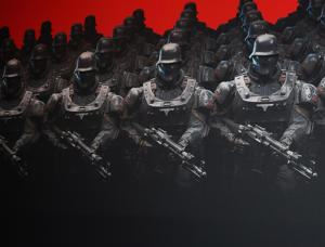 'Wolfenstein 2: The New Colossus' exhibit during the Electronic Entertainment Expo E3 at the Los Angeles Convention Center in Los Angeles, California.