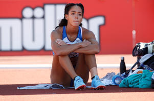 Athletics - British Championships - Alexander Stadium, Birmingham, Britain - June 30, 2018  Katarina Johnson-Thompson reacts during the women's high jump final  Action Images via Reuters/Craig Brough