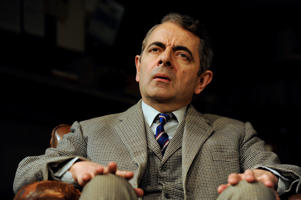 Rowan Atkinson as St John Quartermain in Simon Gray's Quartermaine's Terms directed by Richard Eyre at Wyndham's Theatre in London. (Photo by robbie jack/Corbis via Getty Images)