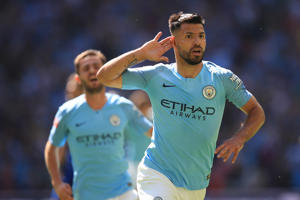 LONDON, ENGLAND - AUGUST 05: Sergio Aguero of Manchester City celebrates scoring the opening goal during the FA Community Shield between Manchester City and Chelsea at Wembley Stadium on August 5, 2018 in London, England. (Photo by Marc Atkins/Offside/Getty Images)