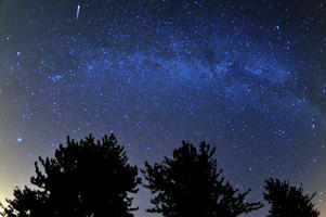 A meteor is seen during the Perseids meteor shower