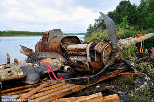 Piece of history: The WWII Ilyushin Il-2 ground attack aircraft was retrieved from the bottom of a lake in Murmansk, northern Russia