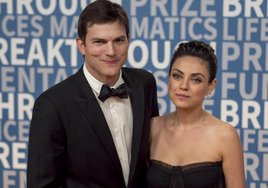 Slide 1 of 5: Ashton Kutcher and Mila Kunis arrive at the 6th annual Breakthrough Prize Ceremony at the NASA Ames Research Center on Sunday, December 3, 2017 in Mountain View, California.