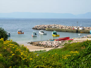 Fishing boats in a harbour in Cape Breton Nova Scotia Canada