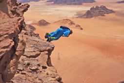 Exhilarating wingsuit jumps in the middle of the Jordanian desert