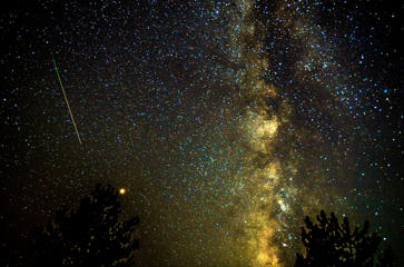 Perseid meteor shower over lake of Kozjak near Skopje, Fyrom - 13 Aug 2018